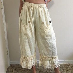 Heart's Desire by Marie Grace Linen Crochet Pants